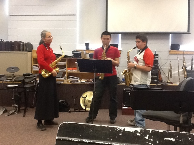 Deb Maynard works improvisation with two outstanding FA students